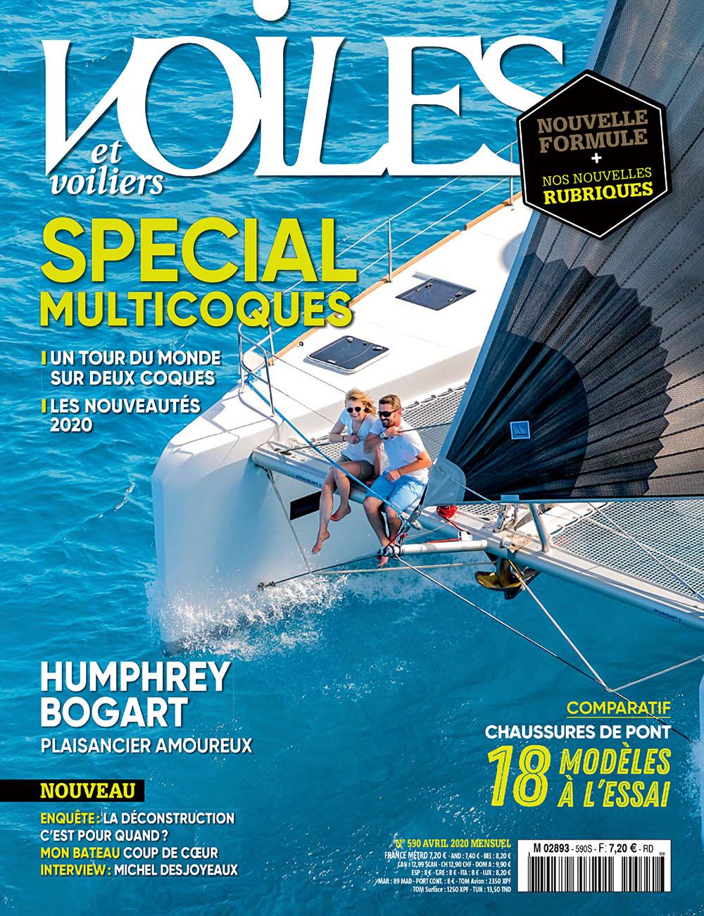 Le Lagoon 52 en couverture de Voiles et voiliers #590 - Avril 2020